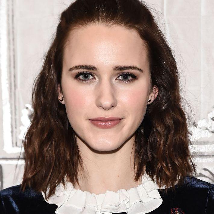 Rachel Brosnahan with half-up topknot