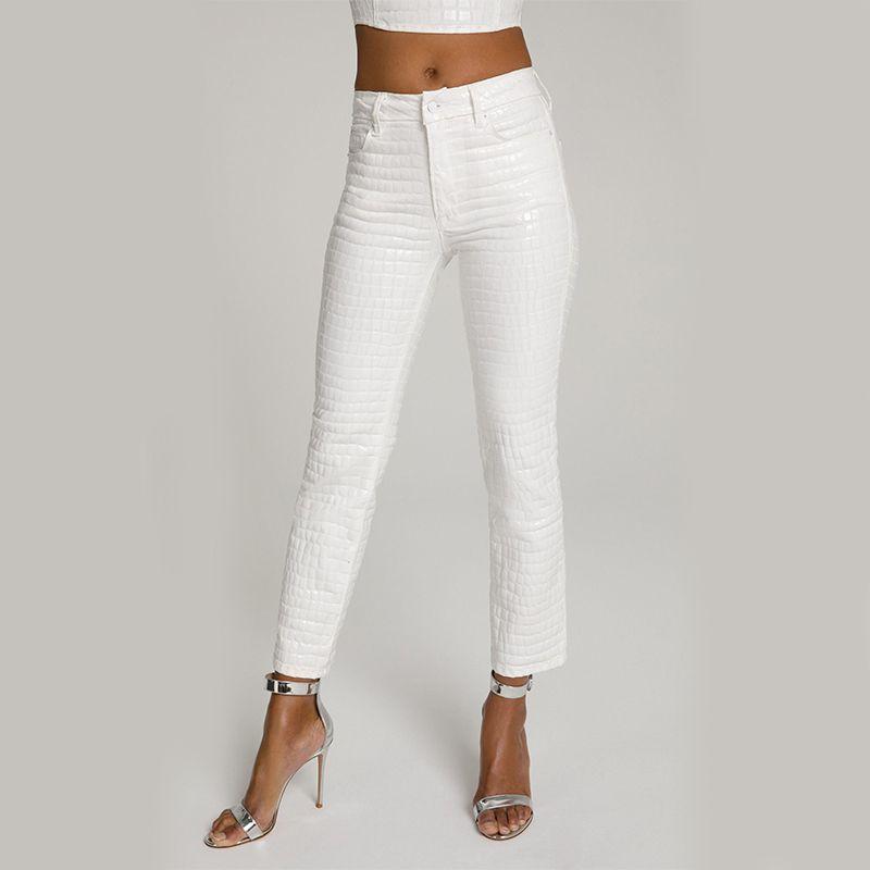 Good Straight White Croc Jeans
