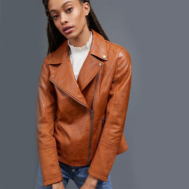 Robyn Faux-Leather Moto Jacket