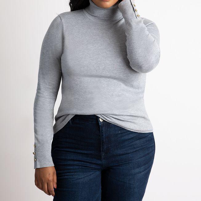 Eloquii Button Cuff Turtleneck Sweater