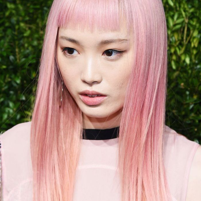 pink hair: Model Fernanda Ly with pastel pink hair
