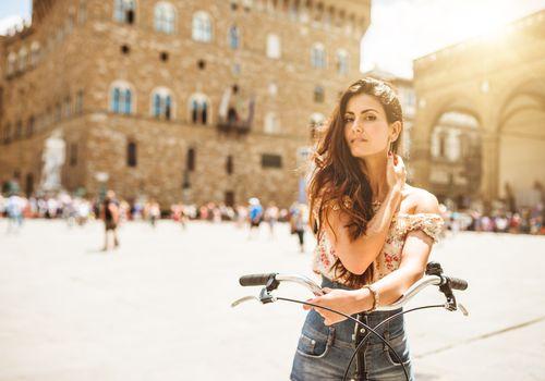 Italian woman in the square