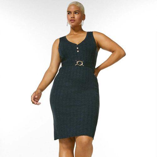 Linen Blend Belted Rib Knit Dress ($100)