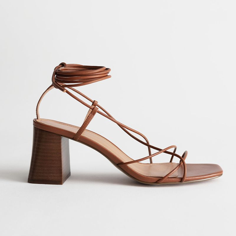 Leather Strappy Lace Up Heeled Sandals