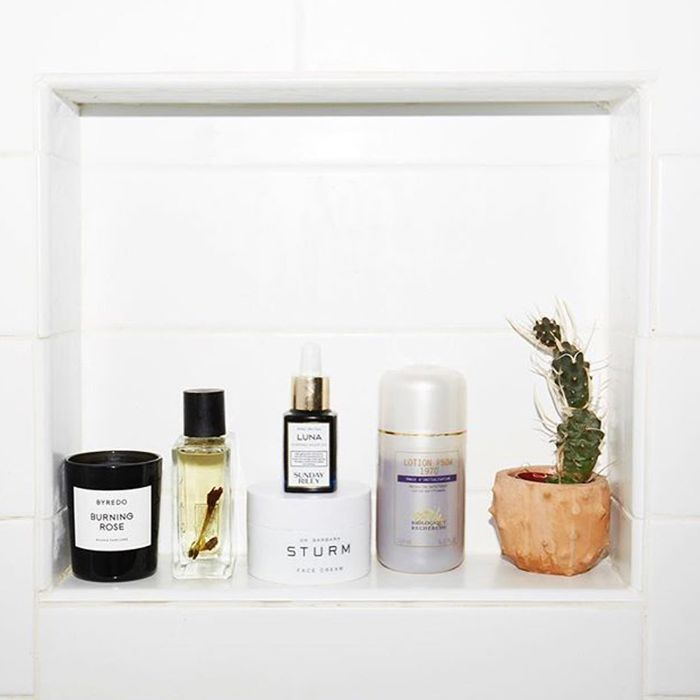 Skincare products decorating a shelf