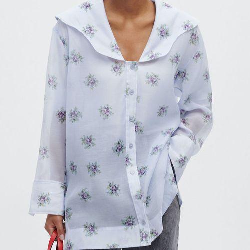 Ganni Organza V-Neck Shirt