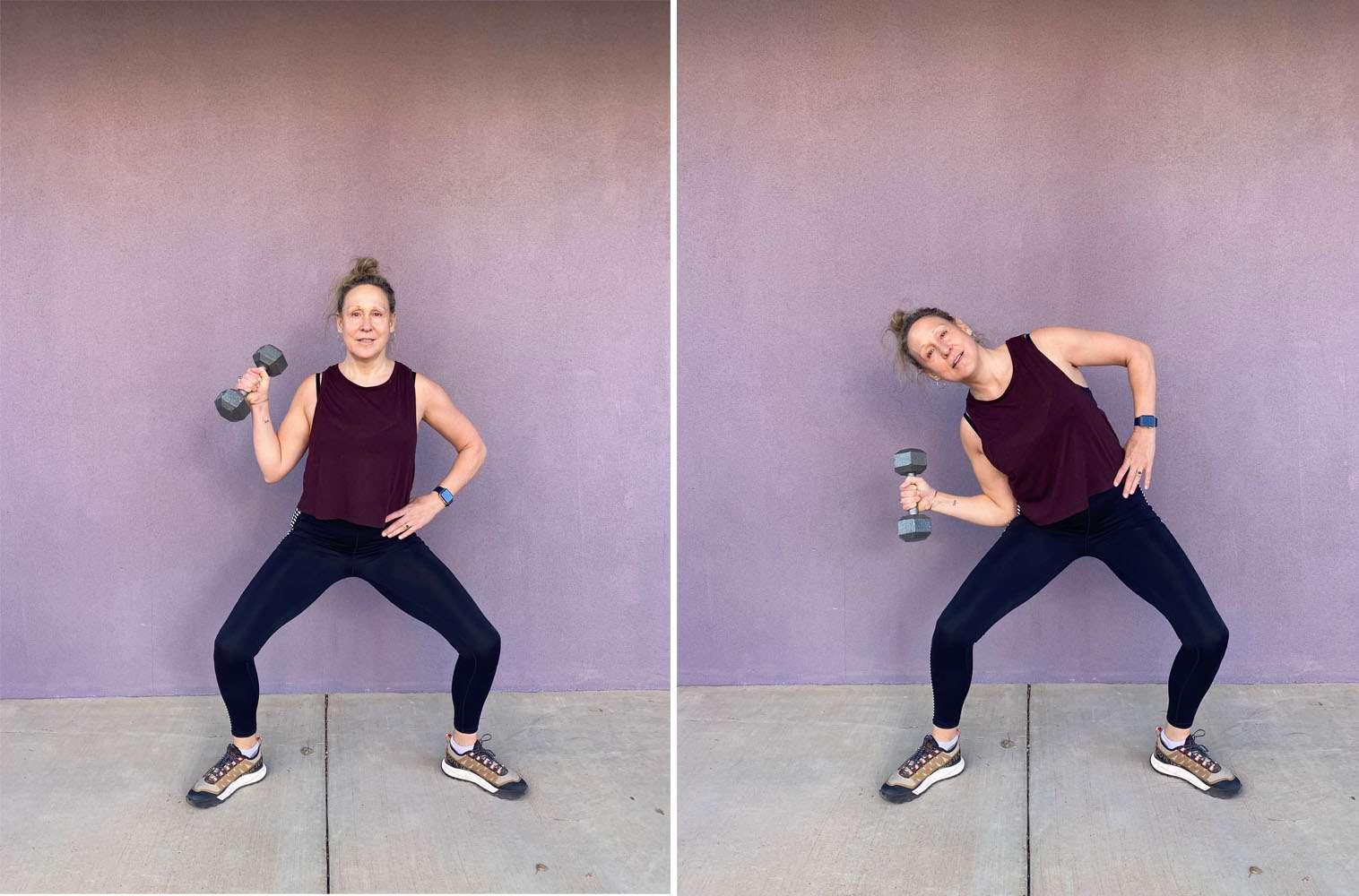 Sumo squat Oblique crunch with weights