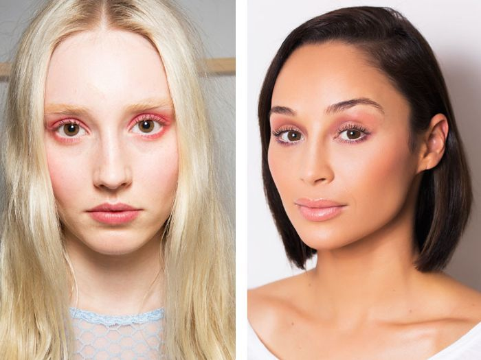 Two different women wearing pink eyeshadow