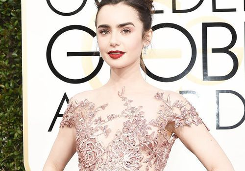 lily collins at the golden globes