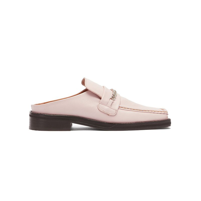 Curb-Chain Square-Toe Leather Loafers