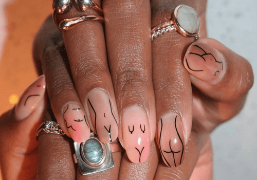 woman with abstract manicure