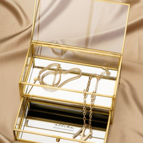 Ettika Two Tiered Mirror Bottom Jewelry Box