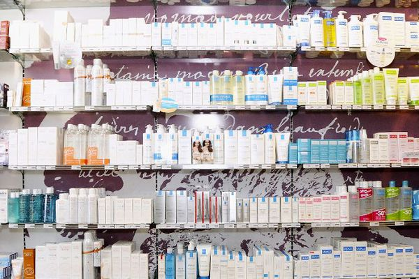 Shelves full of beauty products