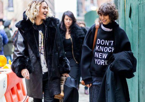 girls walking in new york street