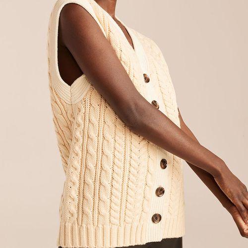 Rebecca Taylor Cable Knit Button Down Vest