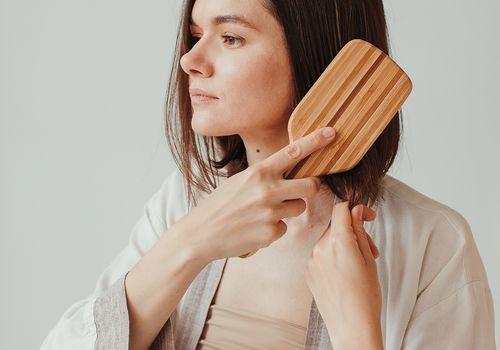 woman hairbrush