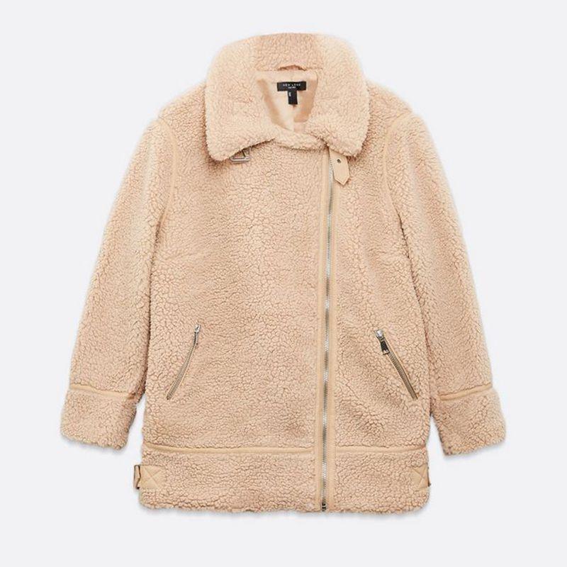 New Look Curve teddy fleece aviator jacket in camel