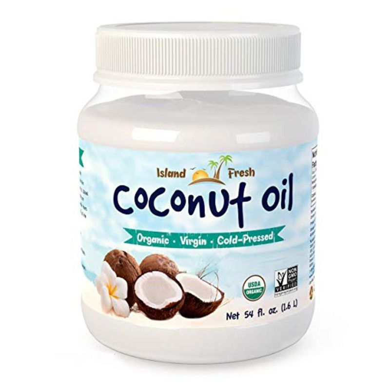 Jar of coconut oil on a white background.