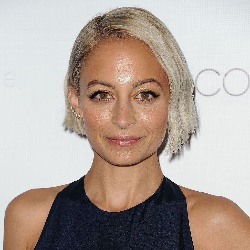 Nicole Richie platinum blonde asymmetrical bob