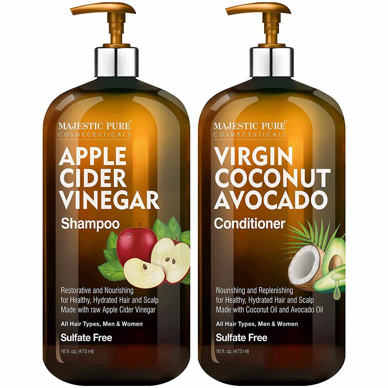 MAJESTIC PURE Apple Cider Vinegar Shampoo and Avocado Coconut Conditioner Set