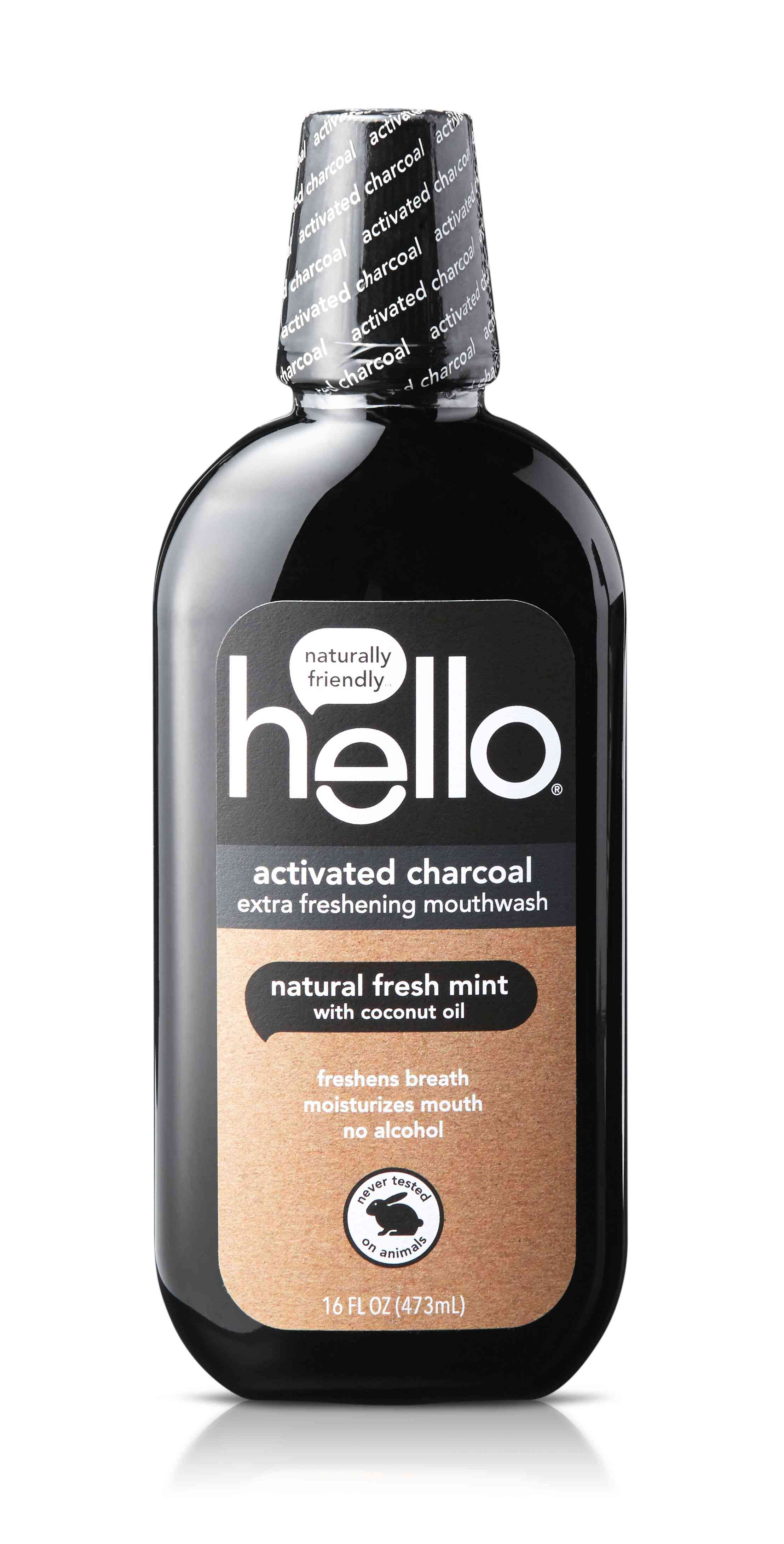 Hello Activated Charcoal Natural Fresh Mint + Coconut Oil Mouthwash