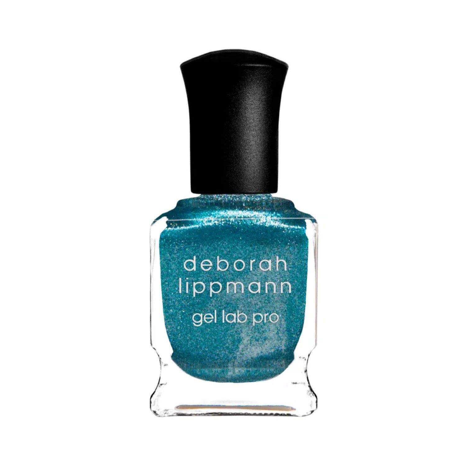 Bottle of glittery blue nail polish with a black top.