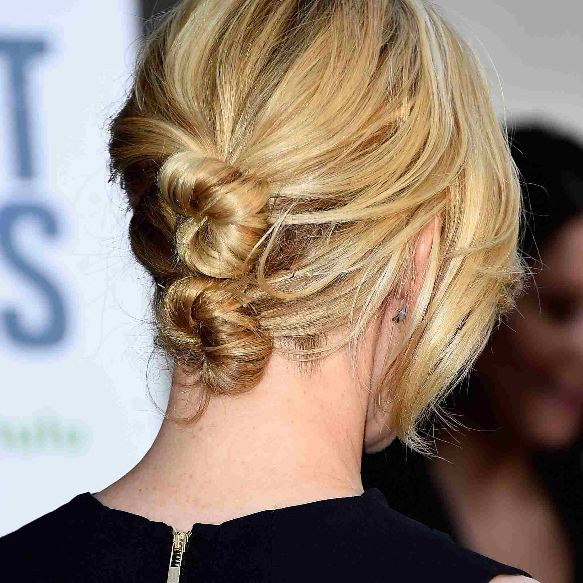 Elizabeth Banks with stacked chignons