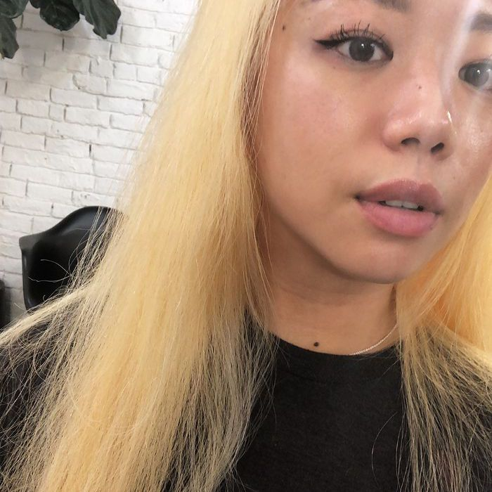 Platinum hair before and after