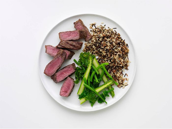 5:2 diet - plate of meat, green, and rice medley