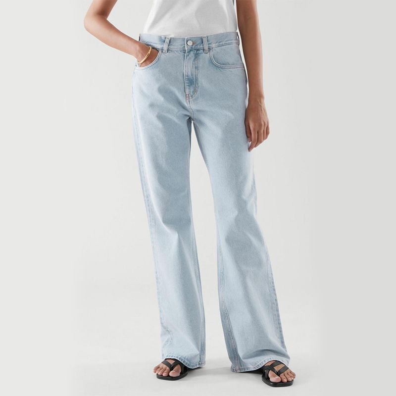 Flared Recycled Cotton Denim Pants