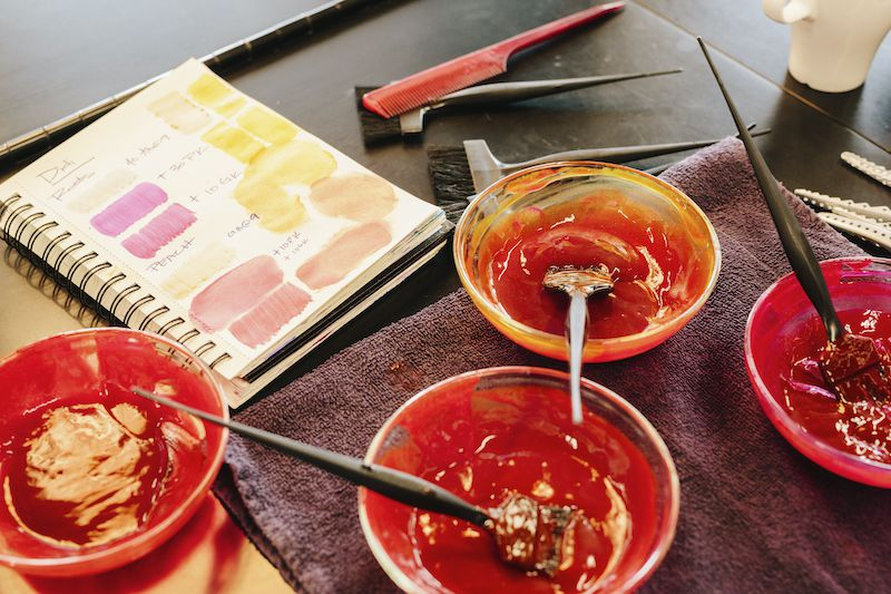 red hair color in bowls with chart