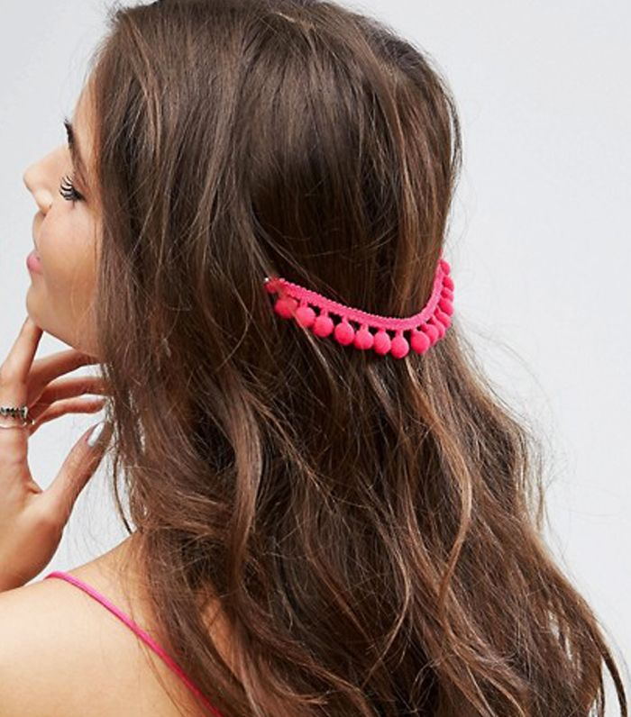 Half up hairstyles: ASOS Pack of 2 Pom Pom Back Hair Grips
