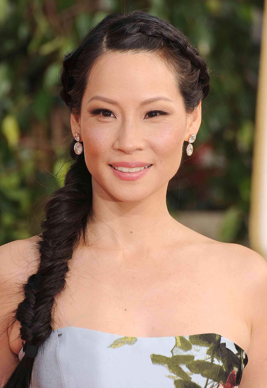 Lucy Liu with braided hair
