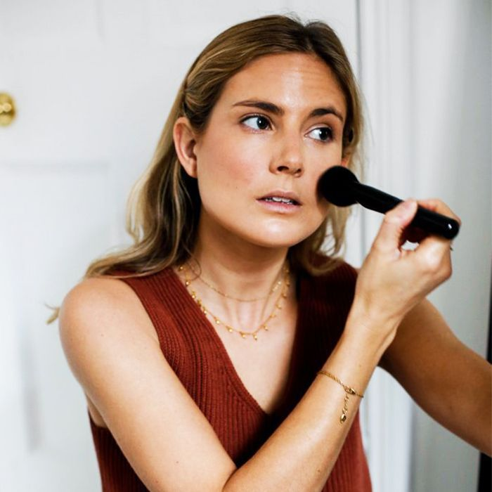 Best drugstore makeup brushes: Lucy Williams applying makeup