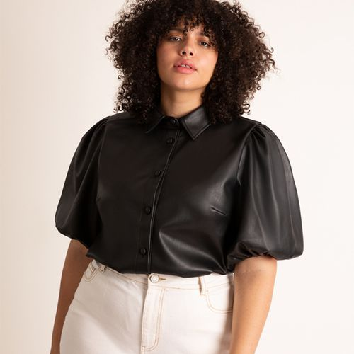 Faux Leather Puff Sleeve Top ($85)