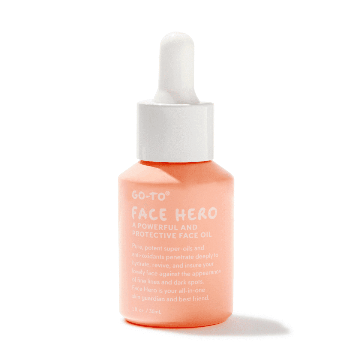 Face hero oil in a salmon and white dropper bottle