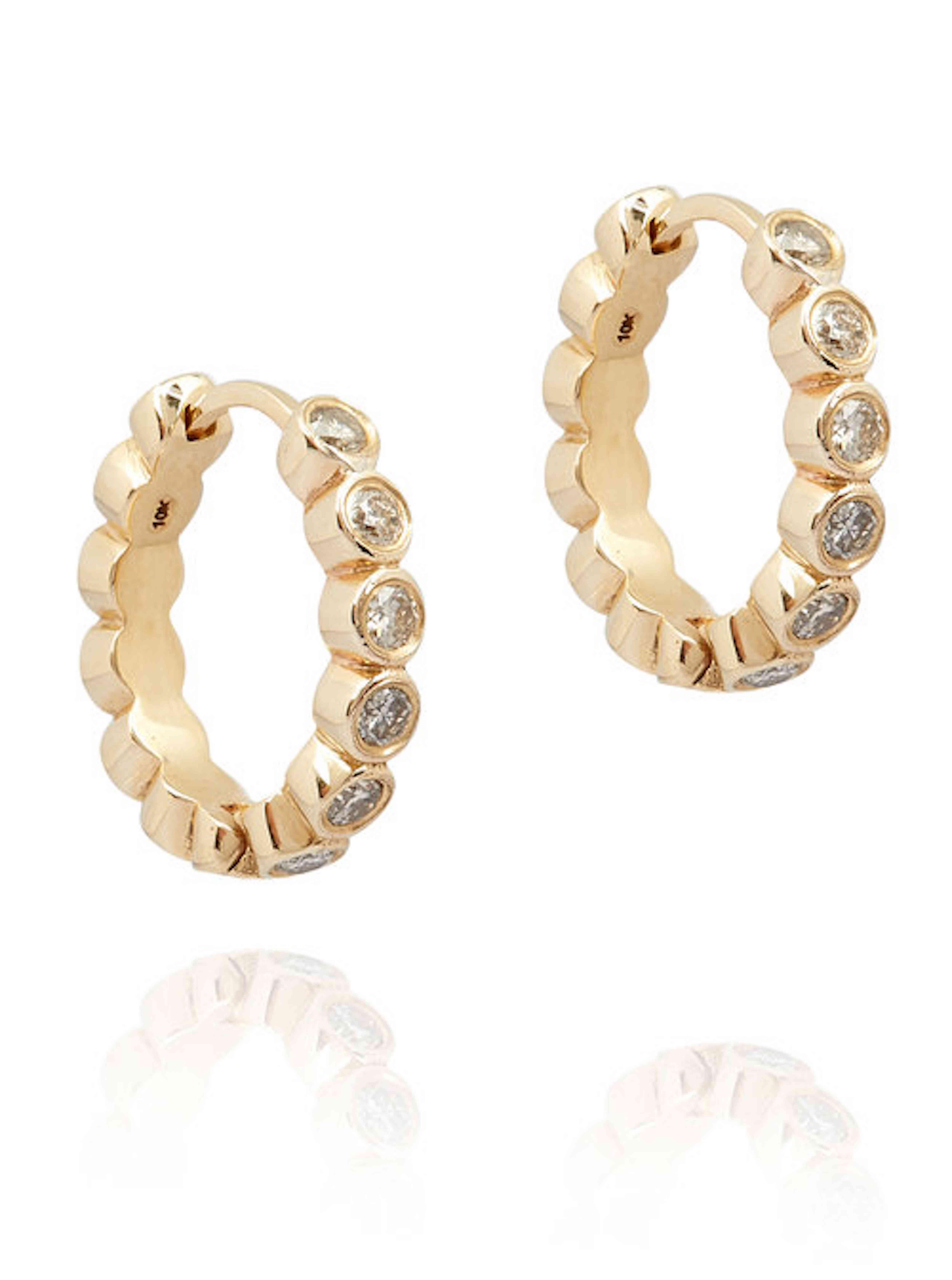 Theodore Ware 10K Gold and Diamond Hoop Earrings