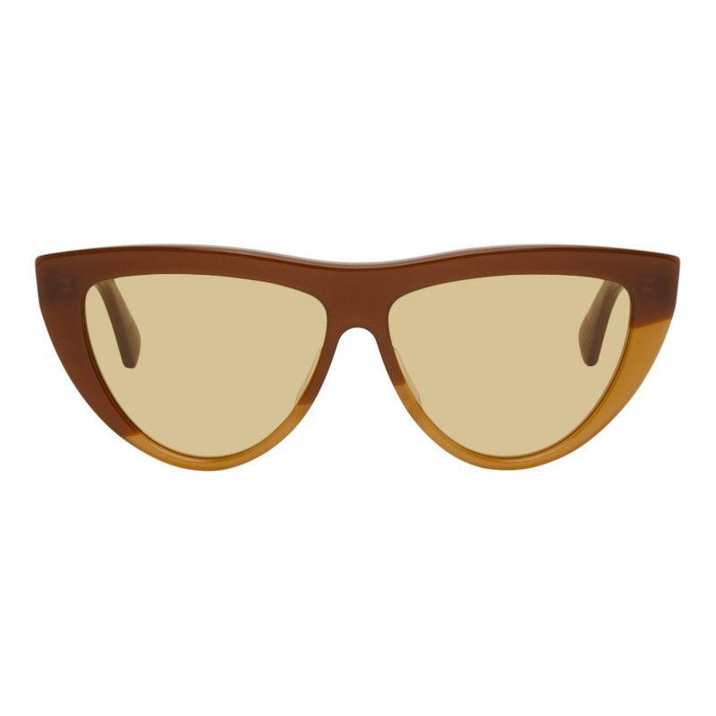 BOTTEGA VENETA Brown & Beige Half Circle Sunglasses