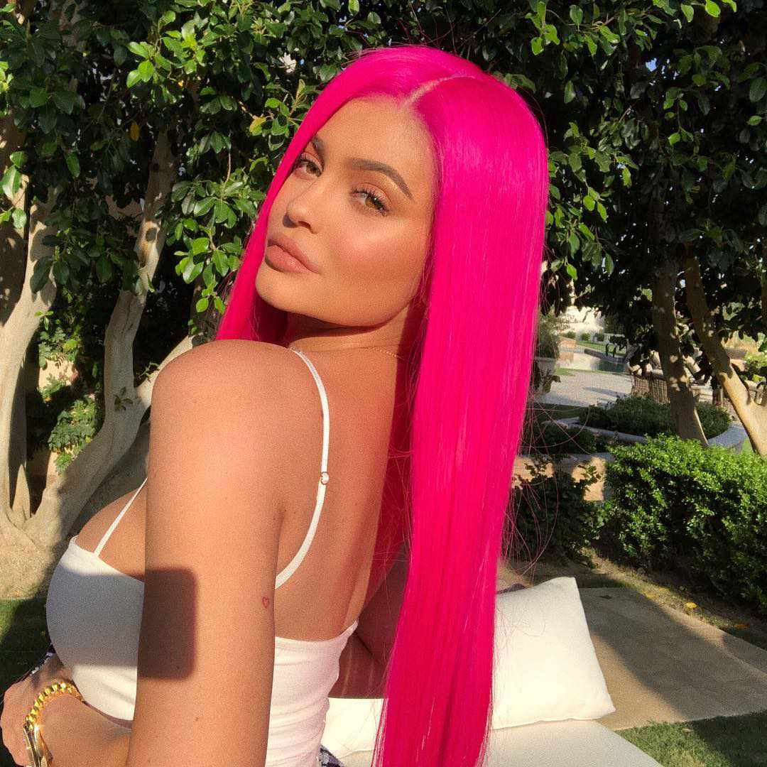 Kylie Jenner in long hot pink wig