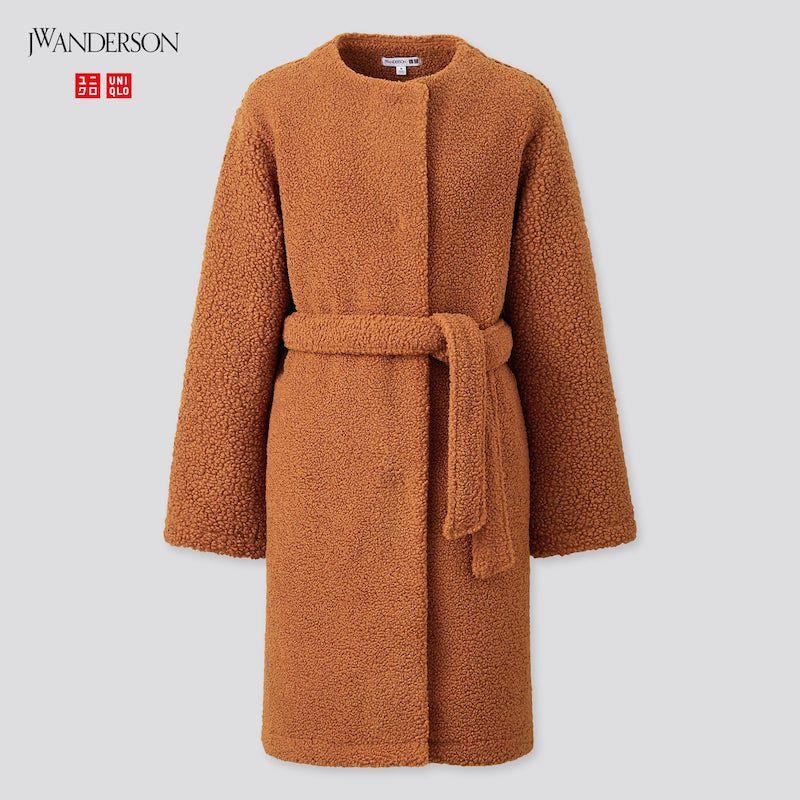Pile-Lined Fleece Collarless Coat