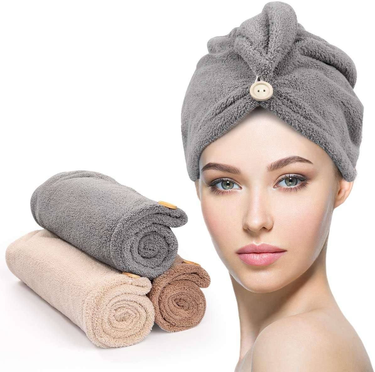Unimi Hair Towel with Button