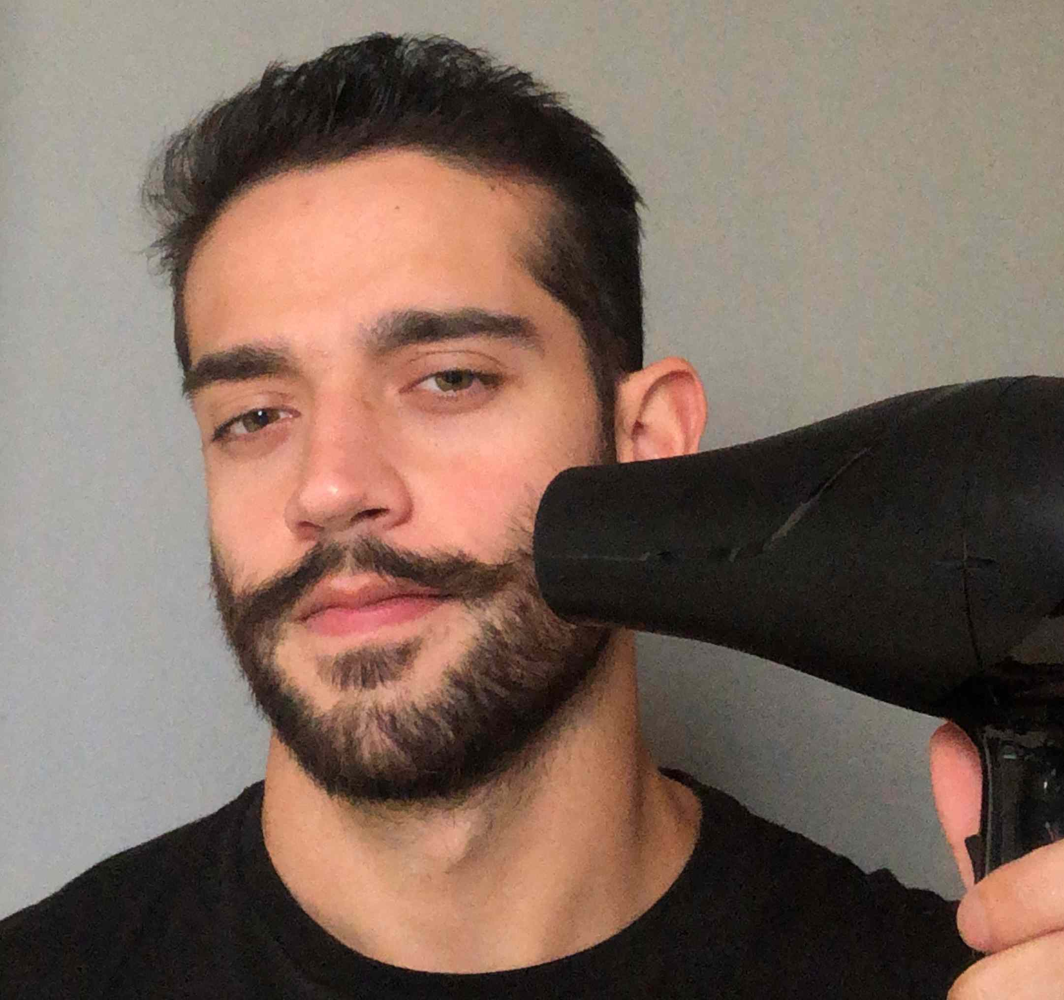 blow dry mustache styling
