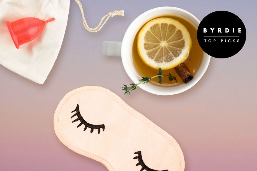 Photo composite of a menstrual cup on a carrying bag, cup of brewed lemon and cinnamon stick, and an eye mask