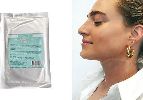 woman wearing neck sheet mask next to product shot of mask