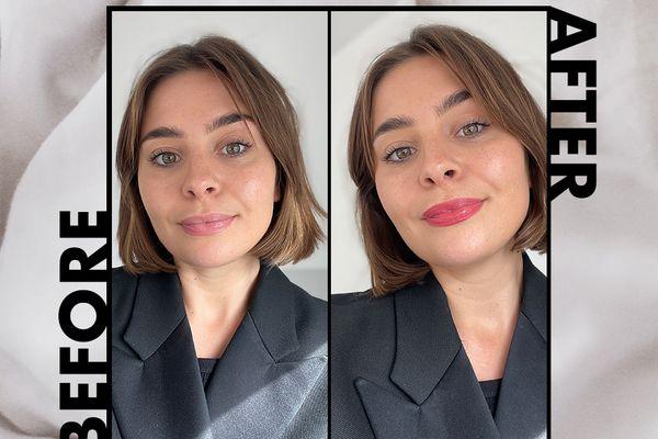 Emily Algar before and after applying walk of no shame