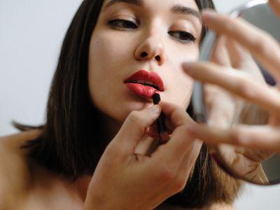 woman makeup mirror