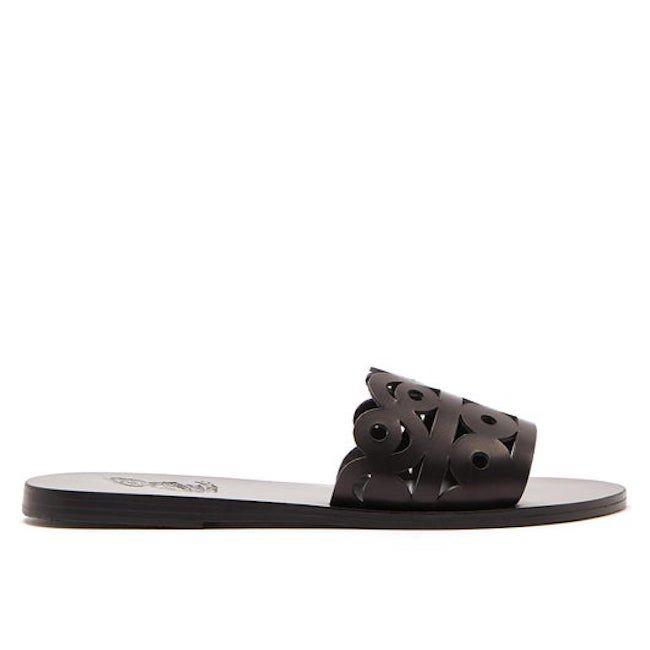 Ancient Greek Sandals Maistros Laser-Cut Leather Slides