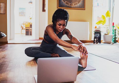 person doing yoga online