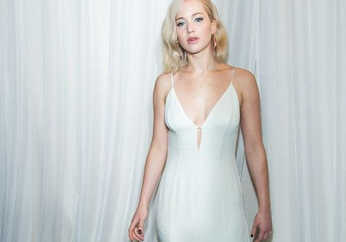 Jennifer Lawrence wearing white dress