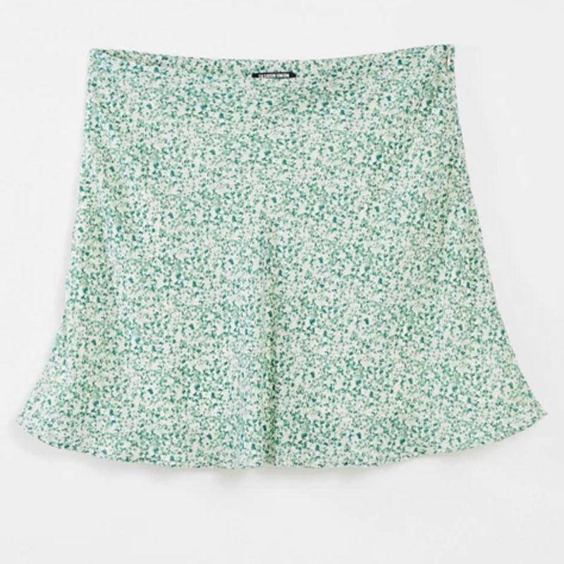 Plus Flippy Mini skirt in Mint Floral